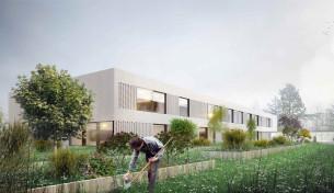 espaces extérieurs, cour et fruticum le rheu (35) mandataire : ddl architectes chantier 2019