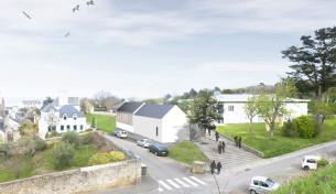 parvis de la médiathèque le palais (56) mandataire : G. Le Romancer architecte chantier 2019